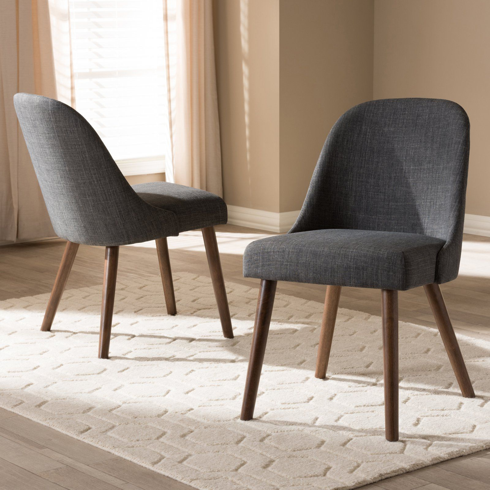 Trendy Carlton Wood Leg Upholstered Dining Chairs Intended For Baxton Studio Cody Mid Century Modern Fabric Upholstered (View 18 of 20)