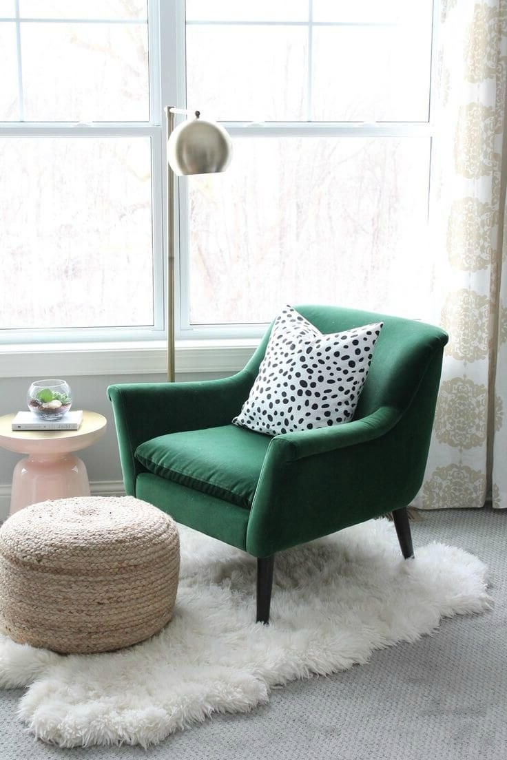 Trendy Cosy Reading Nook With Green Armchair Polka Dot Cushion And With Dara Armchairs (View 20 of 20)