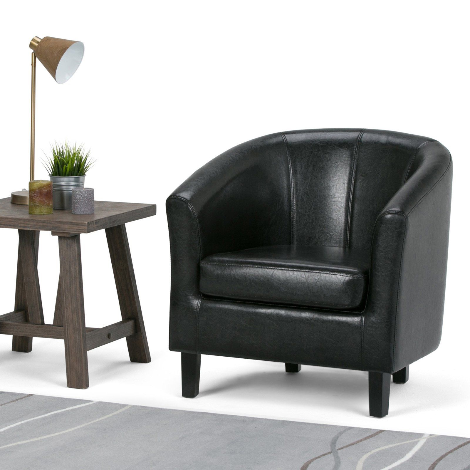 Trendy Liam Faux Leather Barrel Chairs In Brooklyn + Max Hudson Faux Leather Barrel Chair In (View 10 of 20)