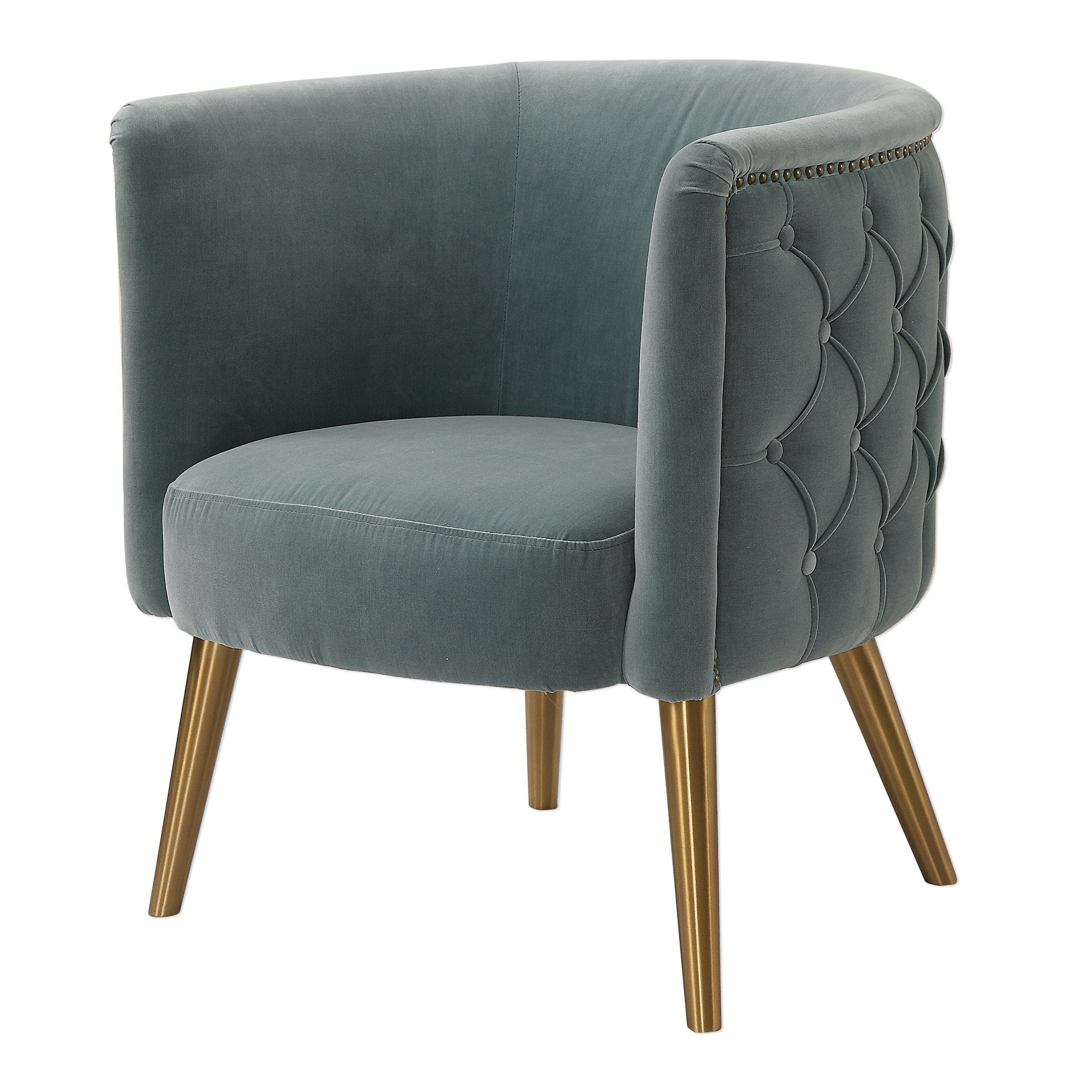 Uttermost Haider Brushed Brass Accent Chair With Widely Used Artemi Barrel Chair And Ottoman Sets (View 15 of 20)