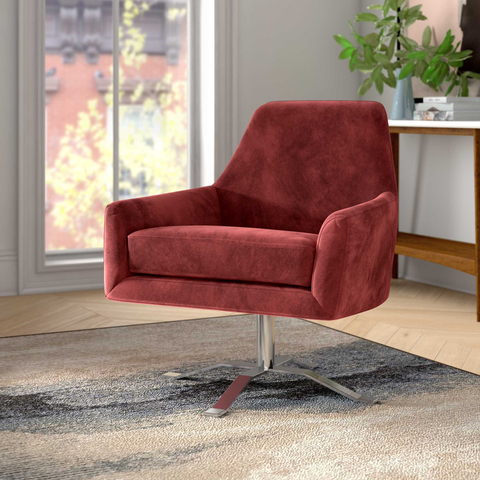 Vineland Polyester Swivel Armchairs In Preferred Foundstone™ Cadence Swivel Armchair & Reviews (View 12 of 20)