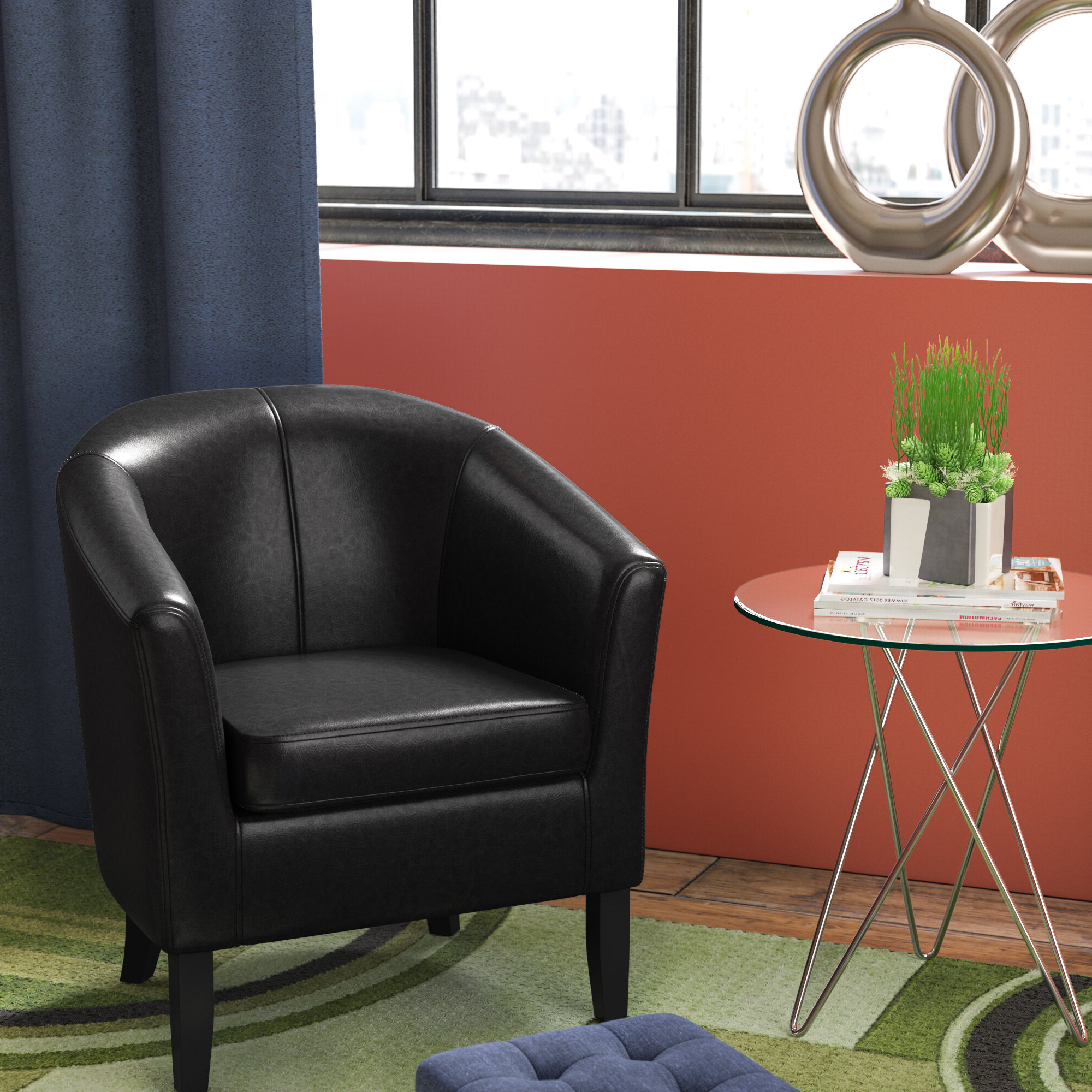 Wayfair In Most Up To Date Gilad Faux Leather Barrel Chairs (View 6 of 20)