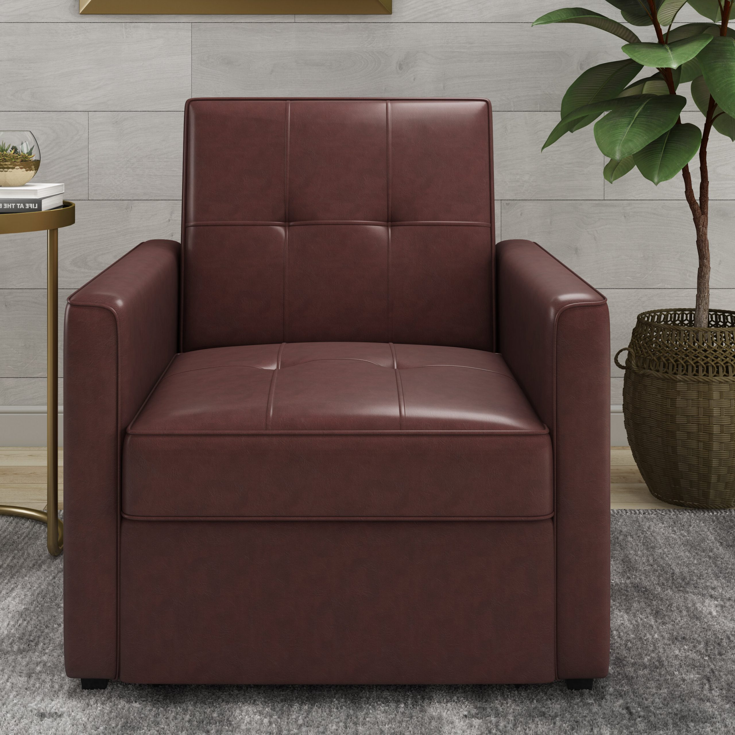 Well Known Abdiwali Convertible Chair With Perz Tufted Faux Leather Convertible Chairs (View 11 of 20)