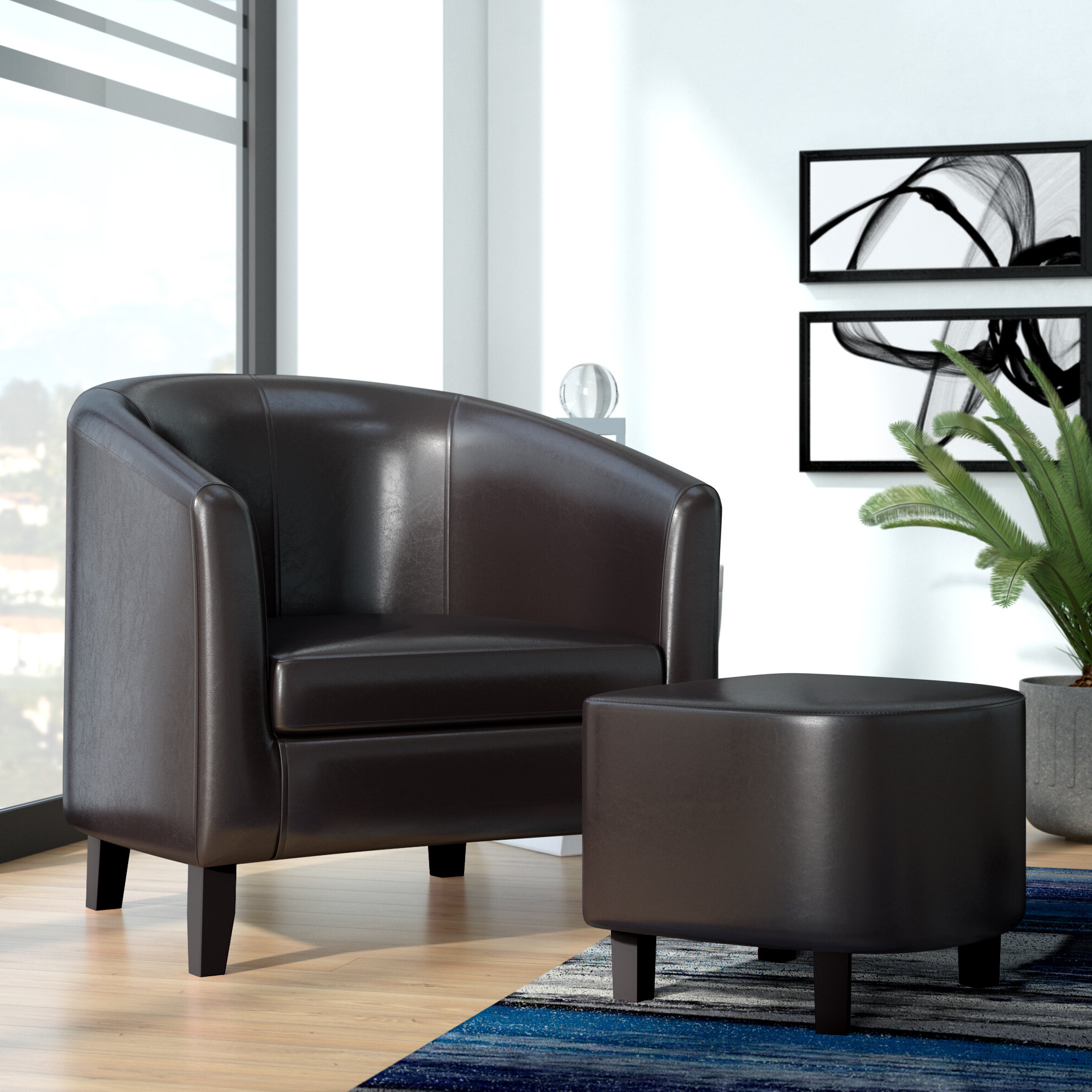 Well Known Faux Leather Barrel Chair And Ottoman Sets Inside Burke  (View 2 of 20)