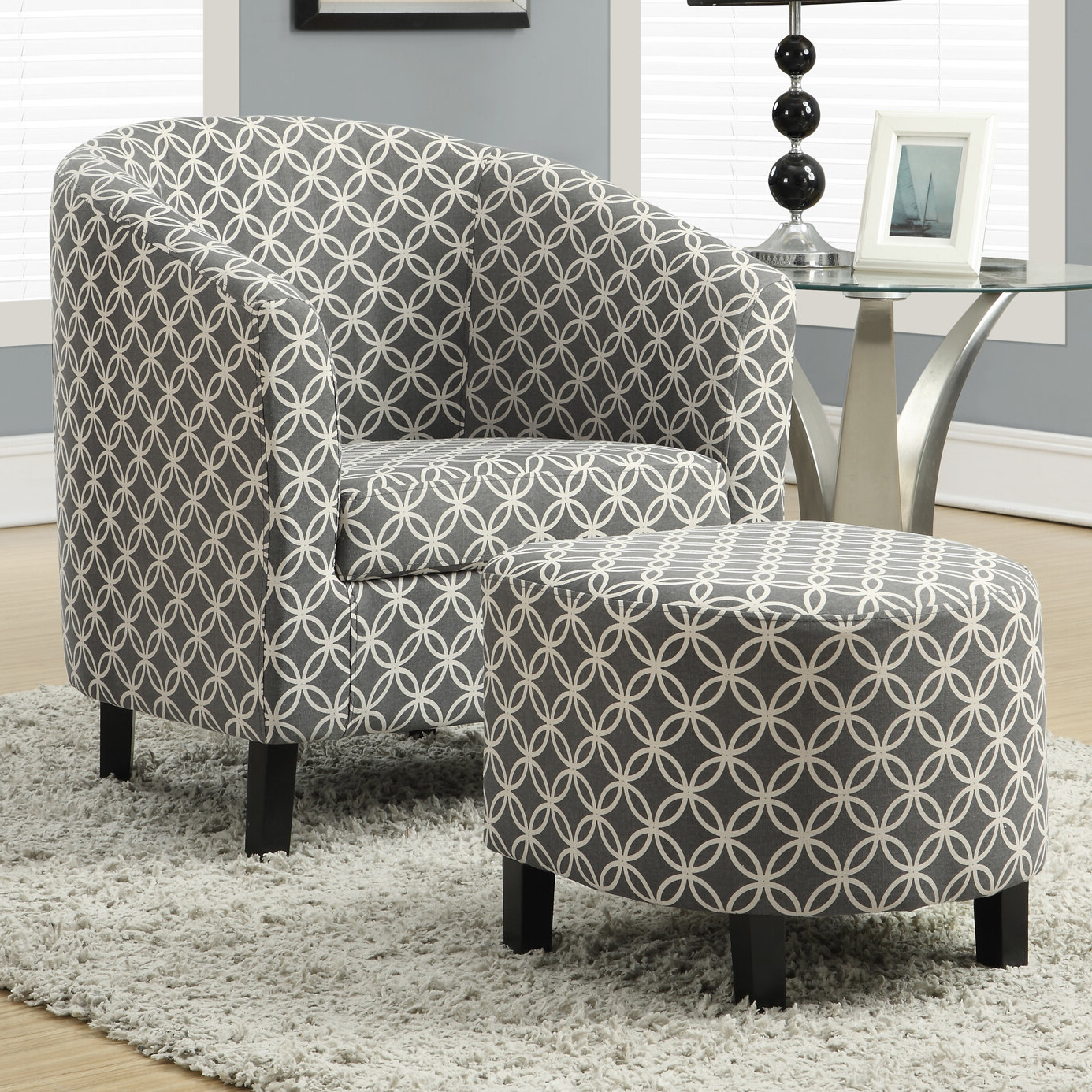 Well Known Geometric Modern & Contemporary Accent Chairs You'll Love In Pertaining To Brames Barrel Chair And Ottoman Sets (View 14 of 20)