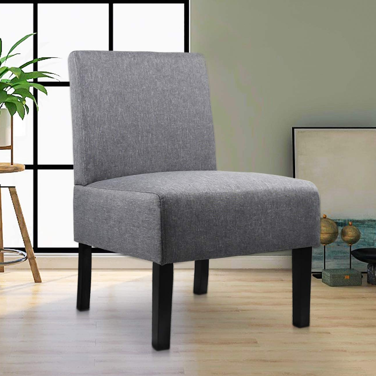 Well Known Goodyear Slipper Chairs Regarding Modern Fabric Armless Accent Chair Decorative Slipper Chair Vanity Chair For Bedroom Desk, Corner Side Chair Living Room Furniture Grey – Walmart (View 9 of 20)