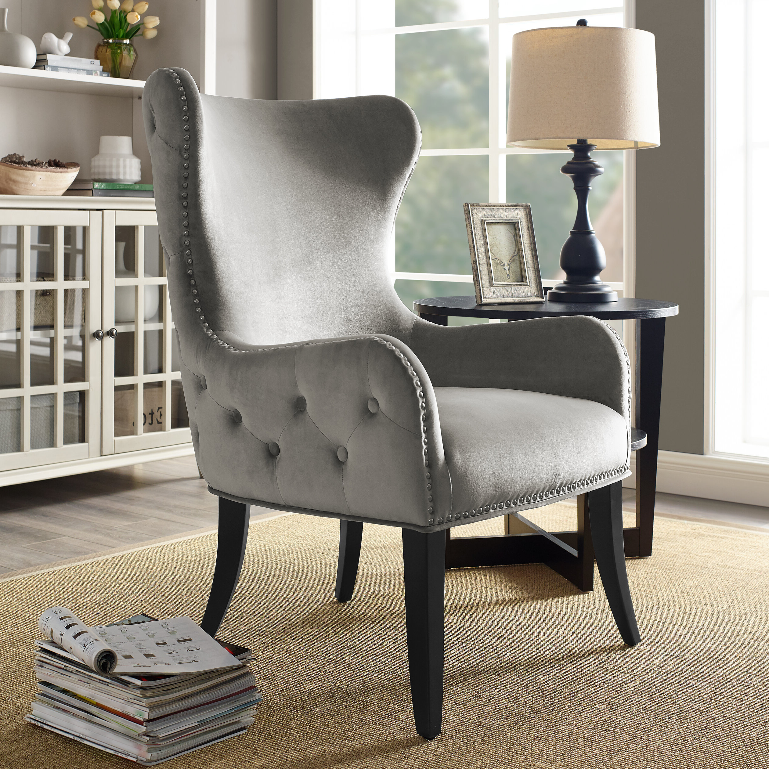 """Well Known Ivo 30"""" W Tufted Wingback Chair Within Busti Wingback Chairs (View 9 of 20)"""