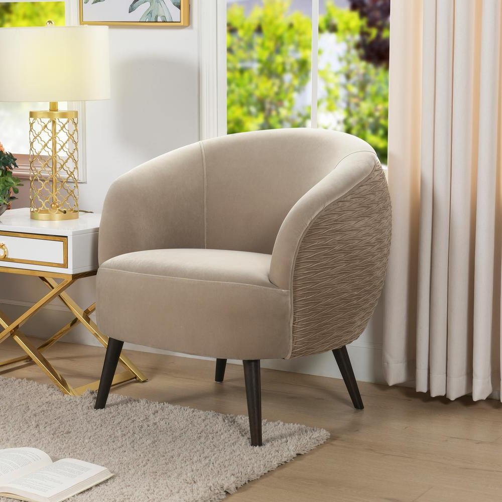 Well Known Jennifer Taylor London Mid Century Modern Ruched Barrel Chair, Mink 60280 Mva – The Home Depot Within Danow Polyester Barrel Chairs (View 19 of 20)