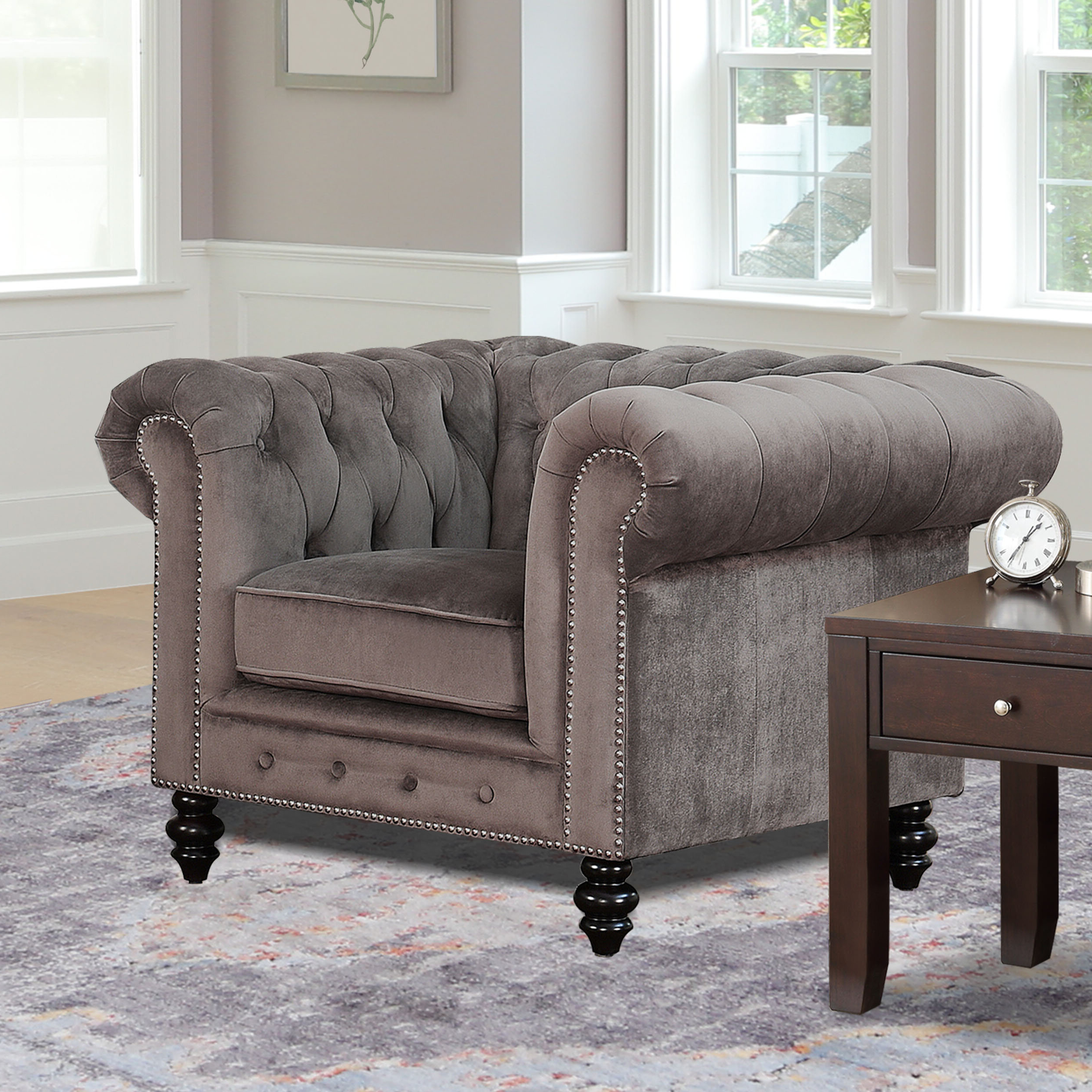 Well Known Kjellfrid Chesterfield Chairs For Chesterfield Espresso Wood Accent Chairs You'll Love In (View 4 of 20)