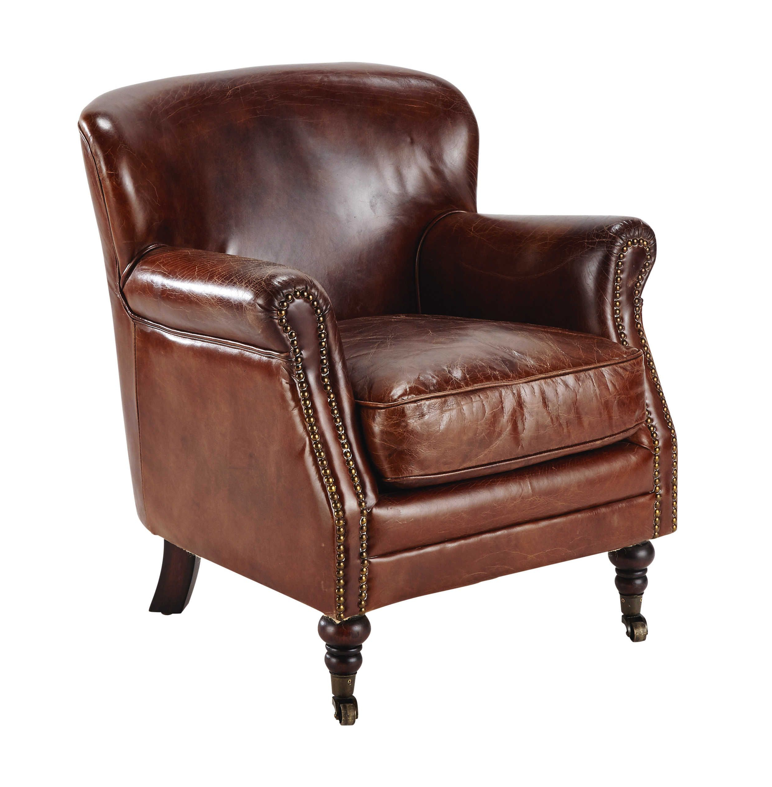 Well Known Leather Armchair On Castors In Brown Orson Intended For Helder Armchairs (View 4 of 20)