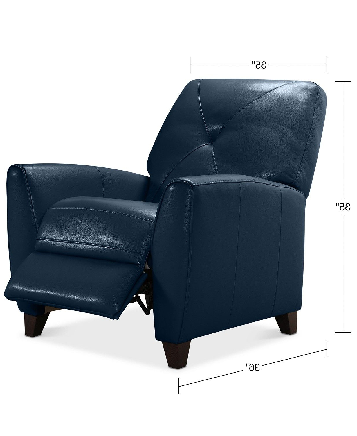 Well Known Myia Armchairs Intended For Furniture Myia Leather Pushback Recliner, Created For Macy's (View 12 of 20)