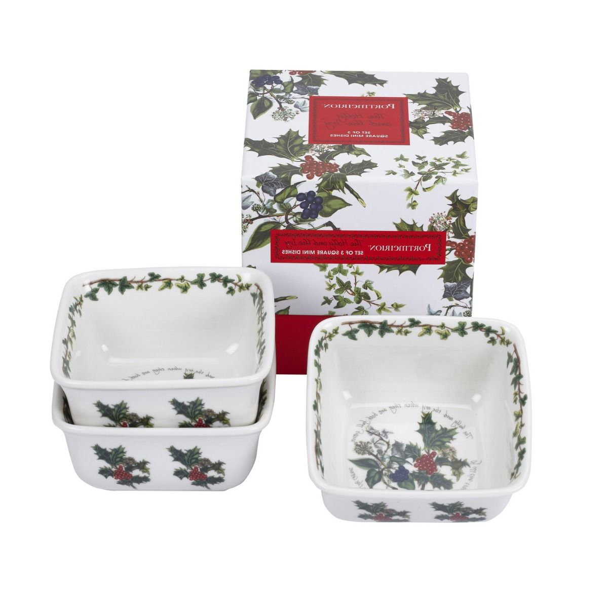 Well Known Portmeirion Armchairs In Portmeirion The Holly And The Ivy Mini Square Dishes Set Of  (View 10 of 20)