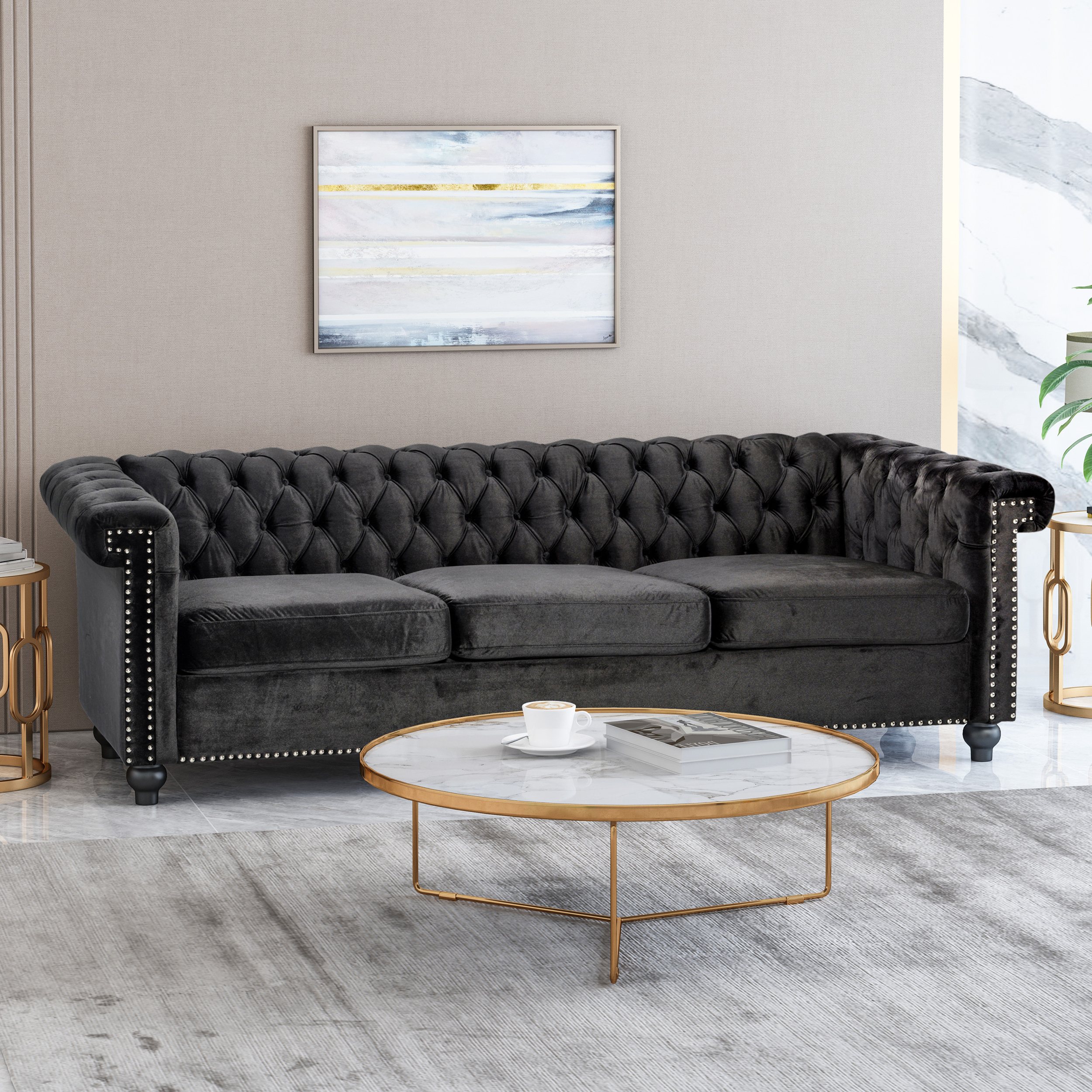 Well Known Starks Tufted Fabric Chesterfield Chair And Ottoman Sets In Noble House Conrado Tufted Chesterfield Velvet 3 Seater Sofa, Black And  Dark Brown – Walmart (View 18 of 20)