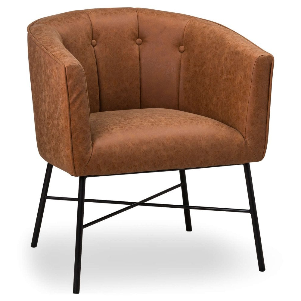 Well Known Tan Faux Leather Urban Tub Chair Throughout Faux Leather Barrel Chairs (View 17 of 20)