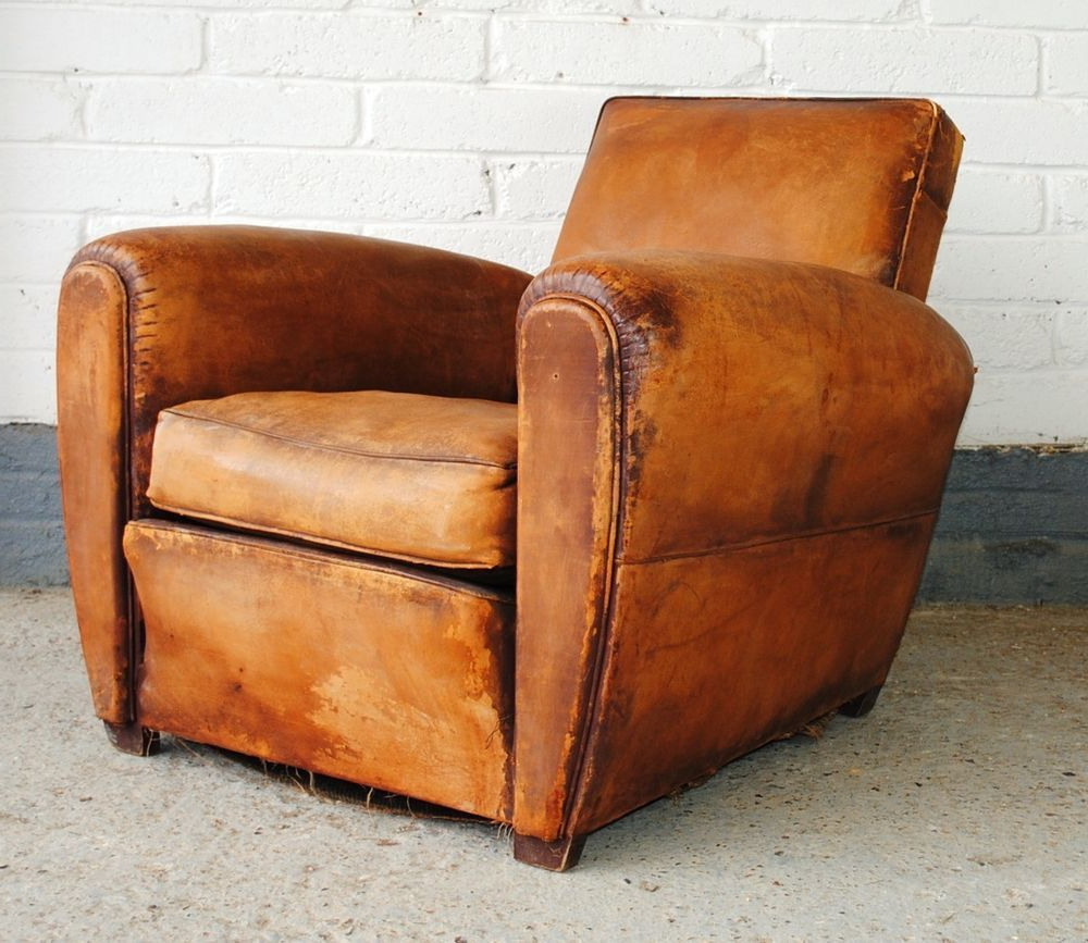 Well Known Vintage French Leather Club Chair (View 9 of 20)