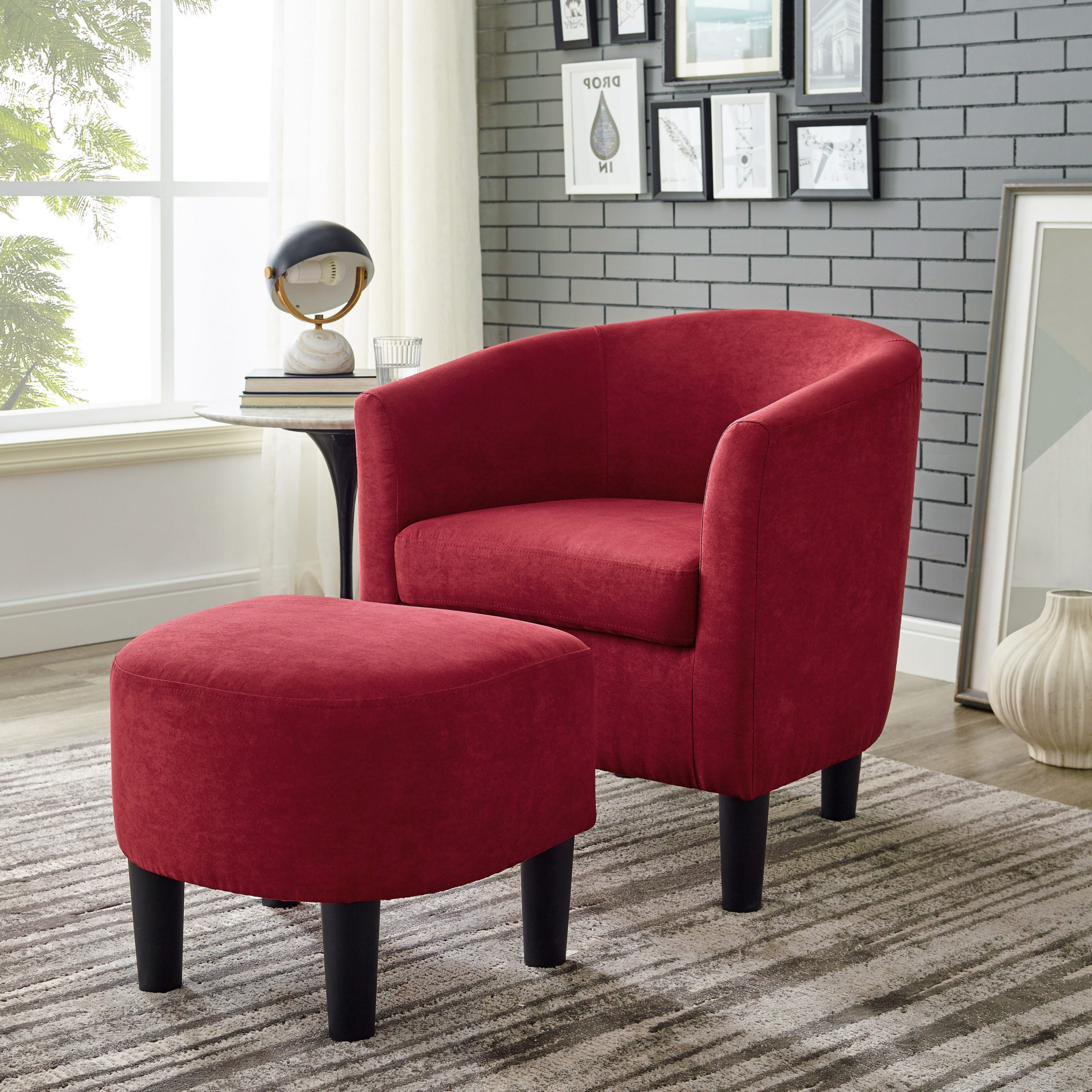 Well Liked Chaithra Barrel Chair And Ottoman Sets Pertaining To Beige & Red Accent Chairs You'll Love In (View 3 of 20)