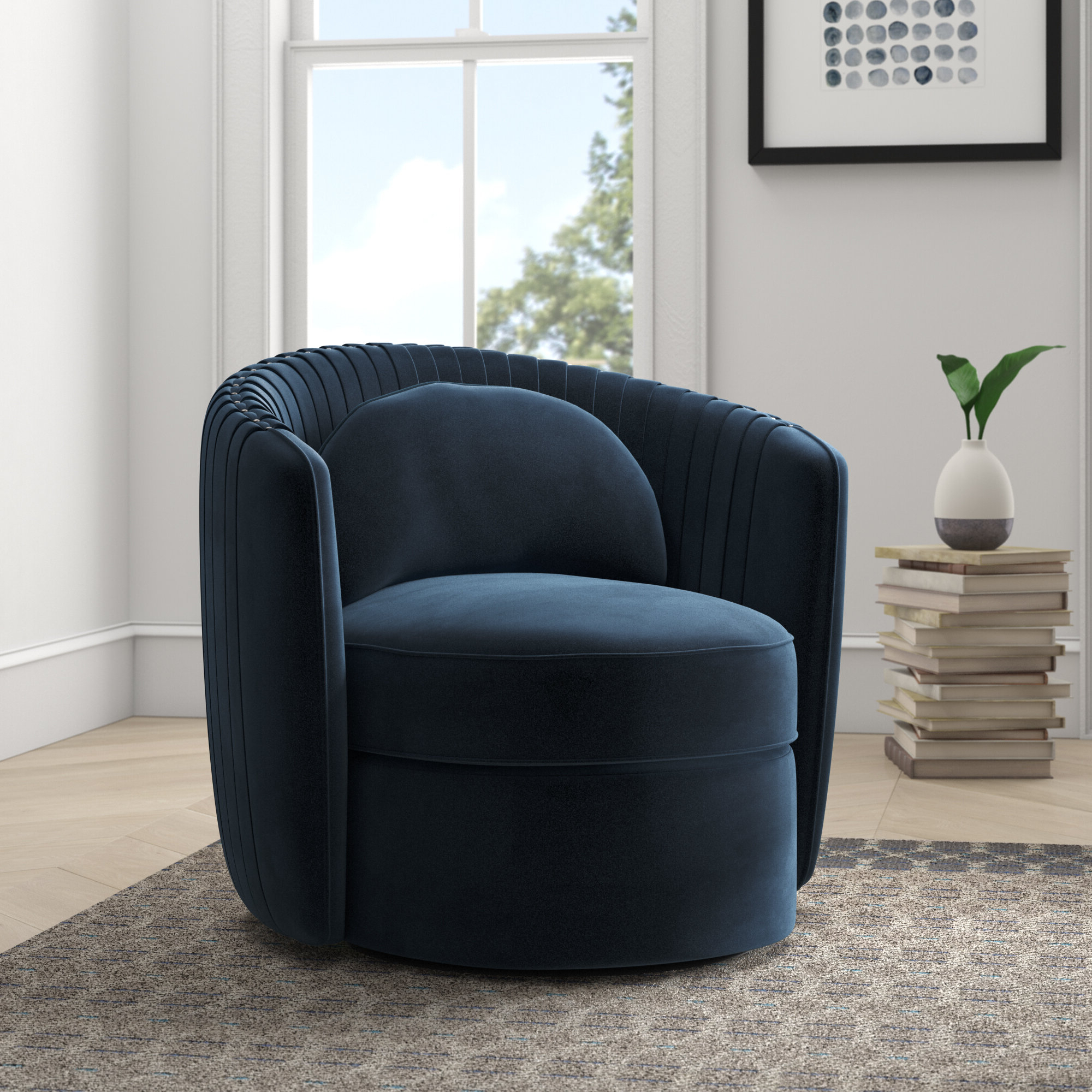 """Well Liked Danow Polyester Barrel Chairs Within Annalise 33"""" W Polyester Swivel Barrel Chair (View 3 of 20)"""