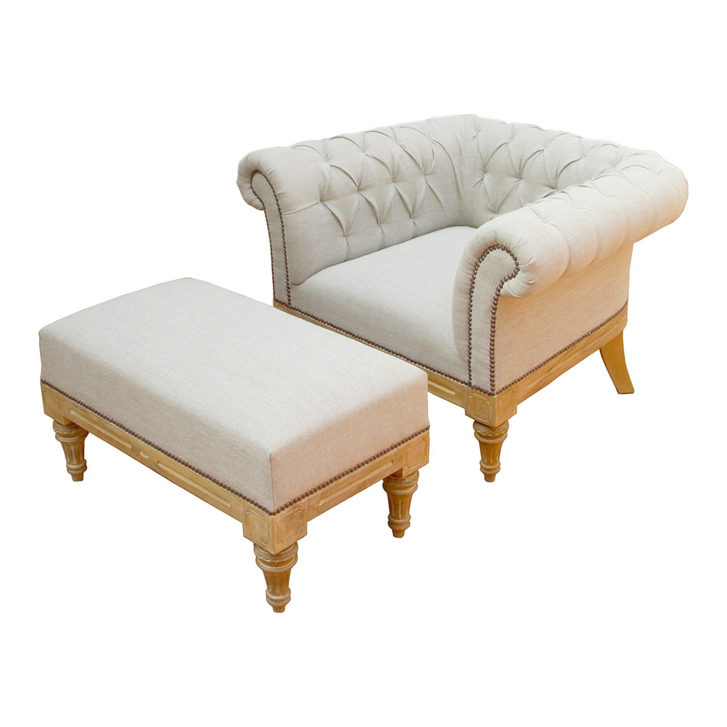 White Armchair With Ottoman Intended For Most Recent Michalak Cheswood Armchairs And Ottoman (View 14 of 20)