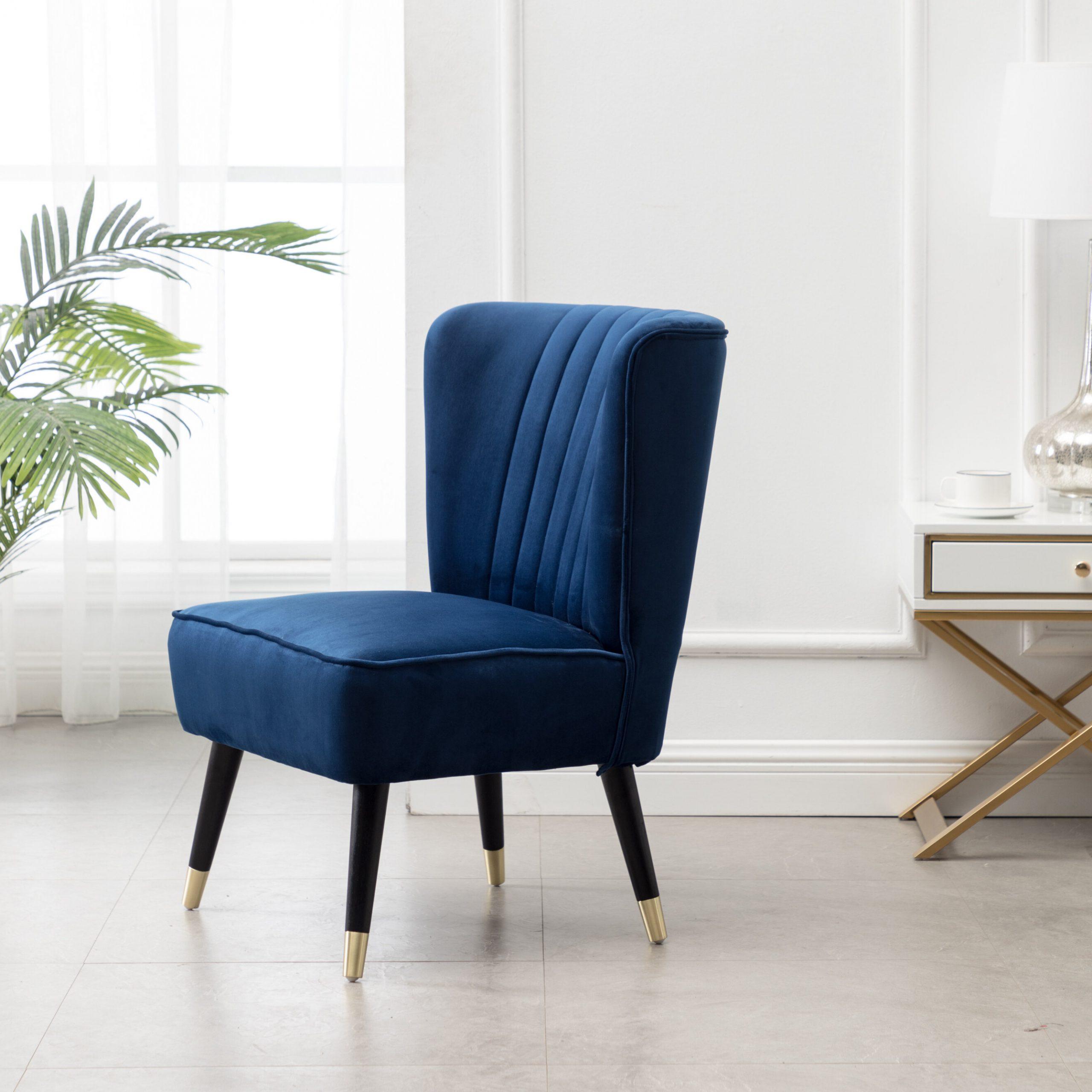 Widely Used Easterling Velvet Slipper Chairs In Billiot Contemporary Velvet Upholstered Accent Chair, Blue (View 20 of 20)