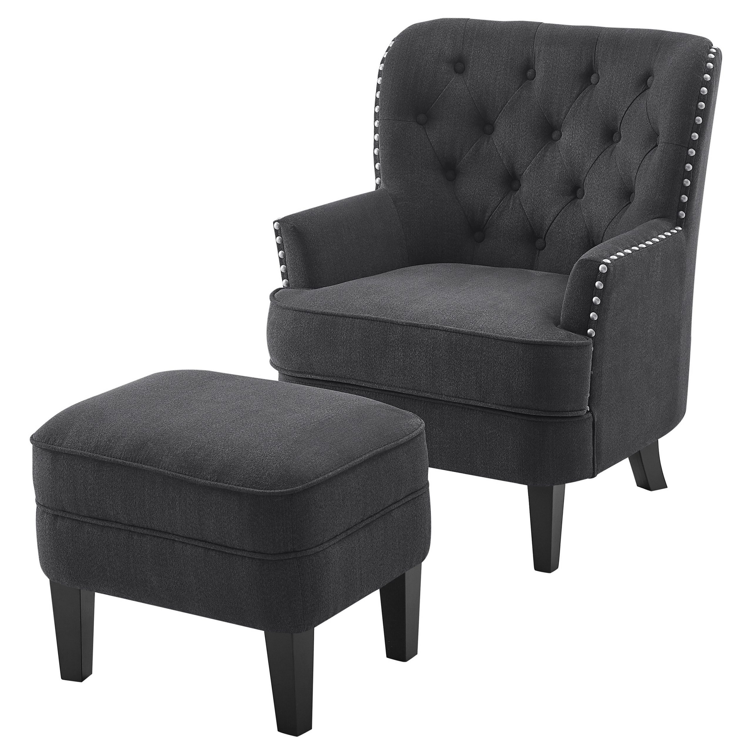 Widely Used Elroy Wingback Chair And Ottoman With Michalak Cheswood Armchairs And Ottoman (View 13 of 20)