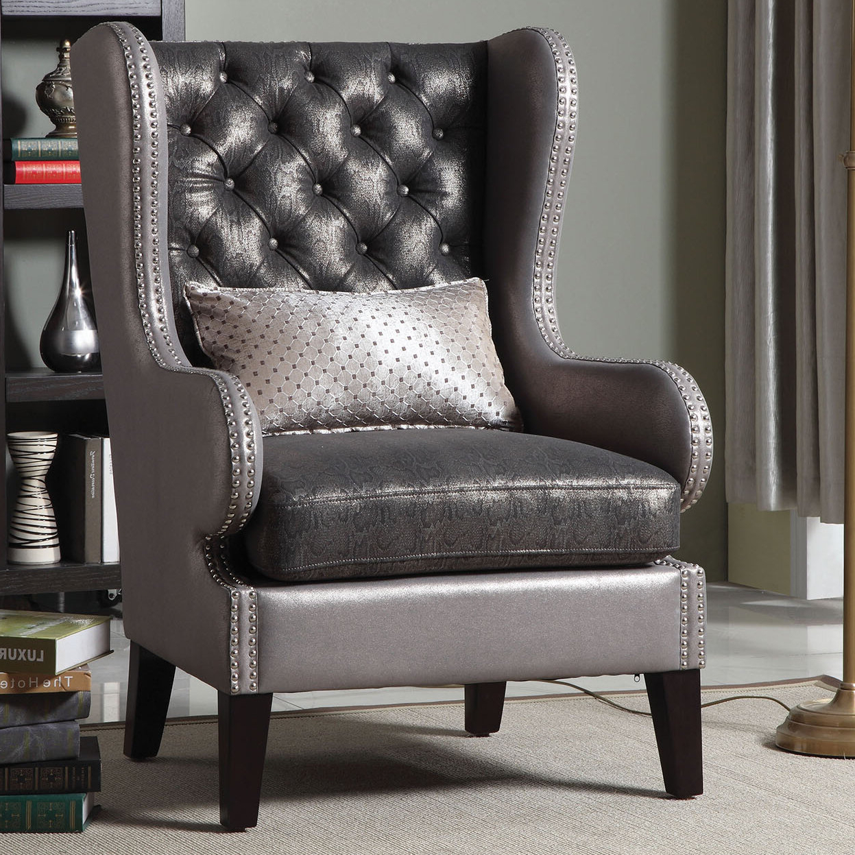 """Widely Used Sweetwater Wingback Chairs Throughout Roche 31"""" W Tufted Wingback Chair (View 12 of 20)"""