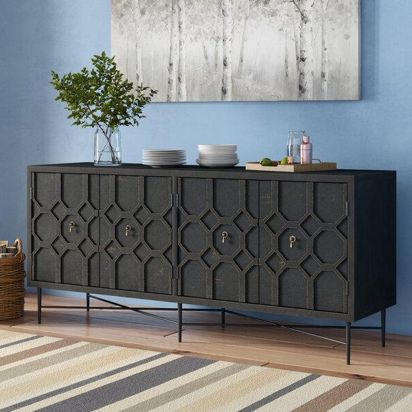 """17 Stories Yulin 71"""" Wide Pine Wood Sideboard & Reviews With Regard To Fashionable Jakobe 66"""" Wide Sideboards (View 16 of 20)"""