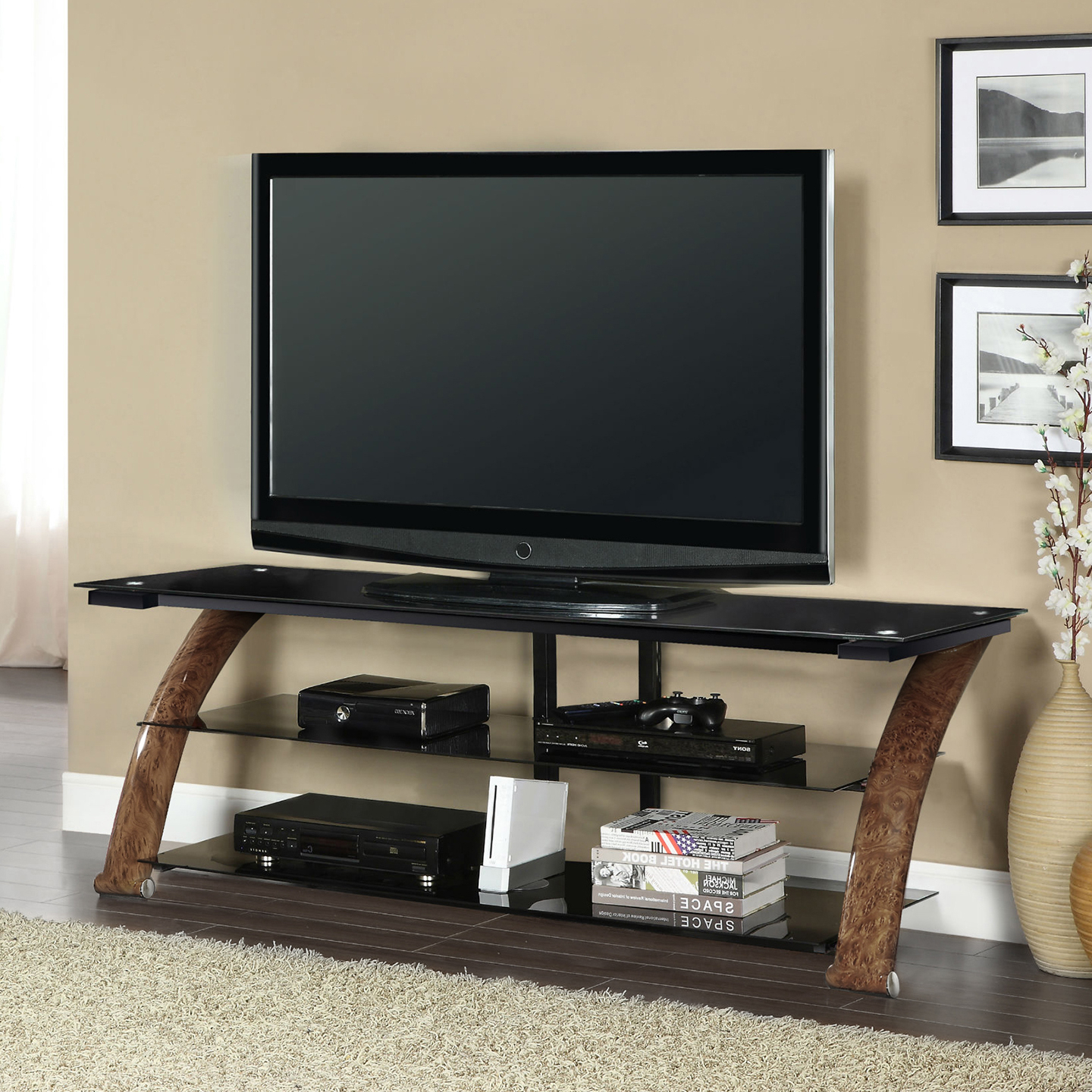 """2019 Bloomfield Tv Stands For Tvs Up To 65"""" With Regard To Memphis 65 Tv Stand Burl Wood – Living Essentials Corp (View 3 of 20)"""