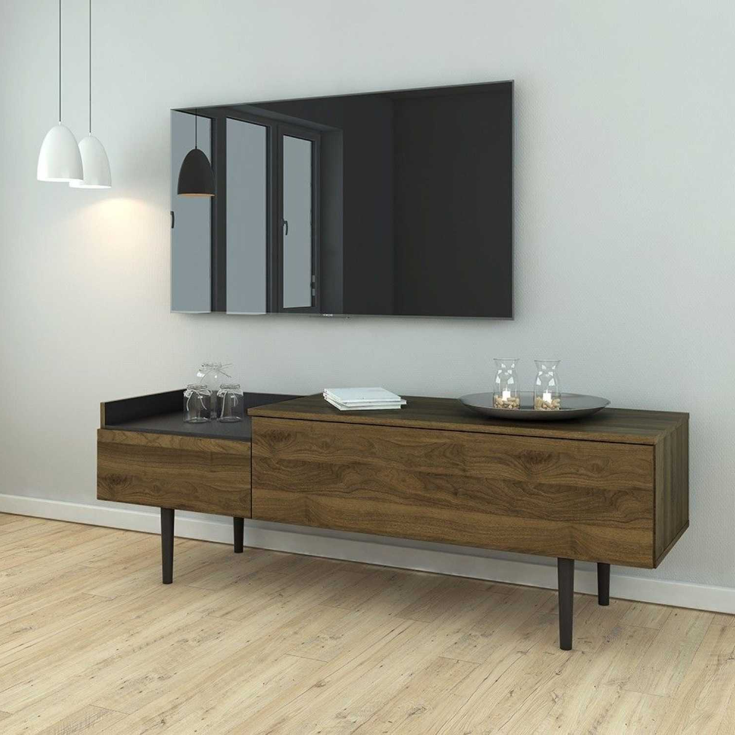 """2019 Desirae 48"""" Wide 2 Drawer Sideboards In Retro Modern Walnut And Black 2 Drawer Sideboard Buffet (View 4 of 20)"""