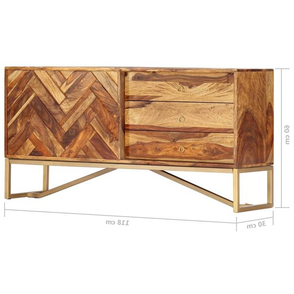 2019 Foundry Select Lucienne 46.5'' Wide 3 Drawer Sheesham Wood Intended For Lucienne  (View 3 of 3)
