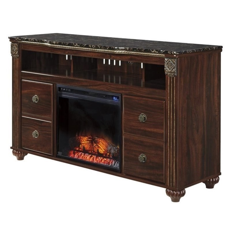 """2019 Jace Tv Stands For Tvs Up To 58"""" Regarding Ashley Gabriela Faux Marble Led Fireplace 58"""" Tv Stand In (View 10 of 20)"""