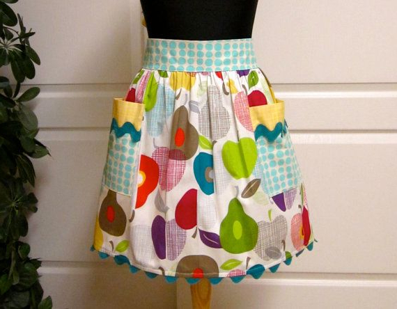 2019 Modern Chic Half Apron Retro Apples Pears Vibrant Colors Inside Strine  (View 18 of 20)