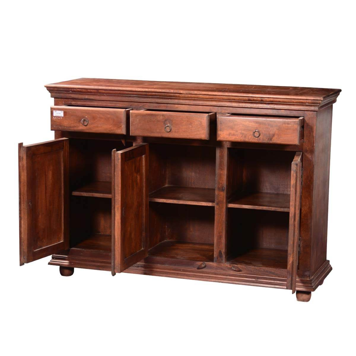 2019 Orner Traditional Wood Sideboards Throughout Traditional Sunburst Reclaimed Wood 3 Drawer Sideboard Cabinet (View 11 of 20)
