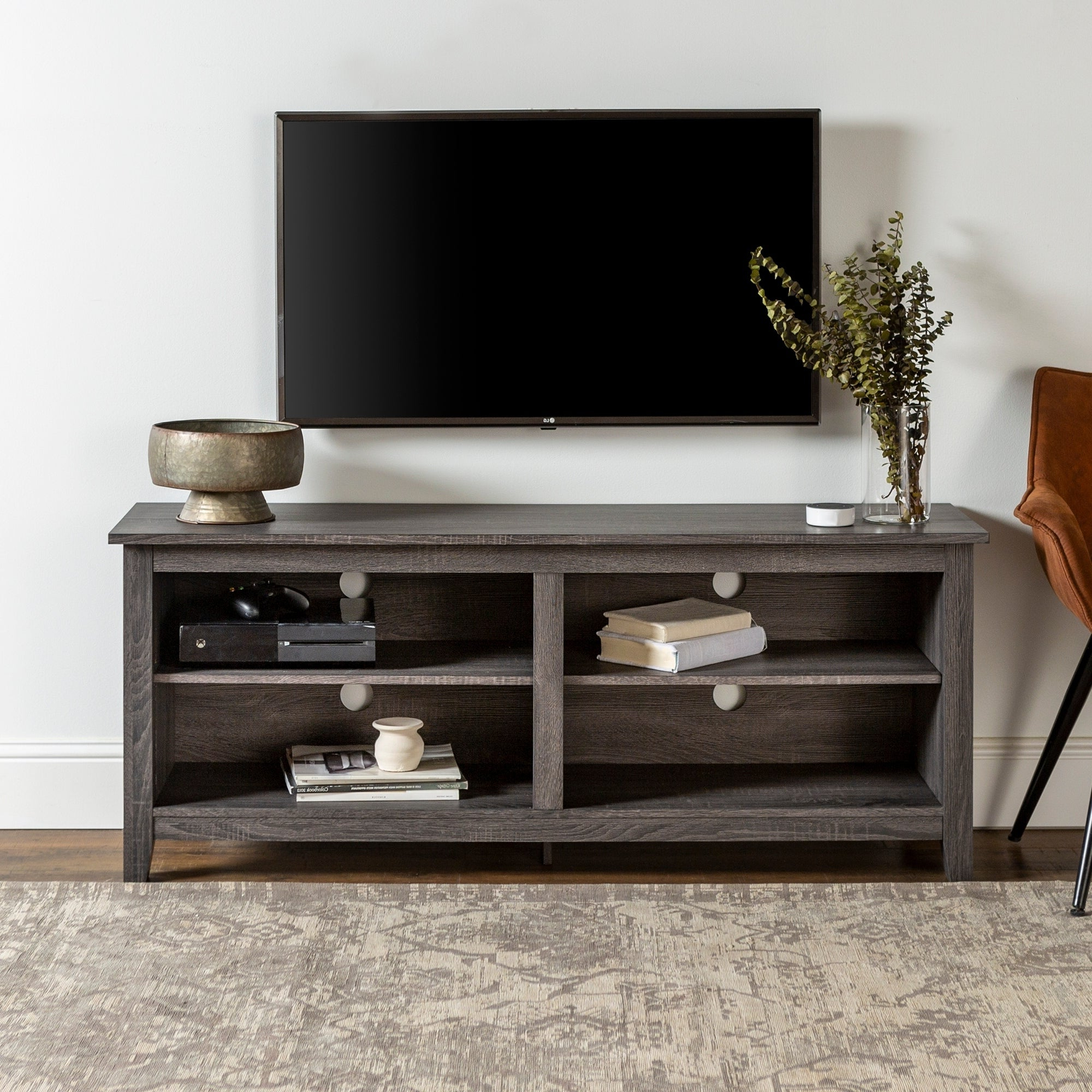 """2019 Porch & Den Harmony 58 Inch Charcoal Tv Stand Console Pertaining To Josie Tv Stands For Tvs Up To 58"""" (View 8 of 20)"""