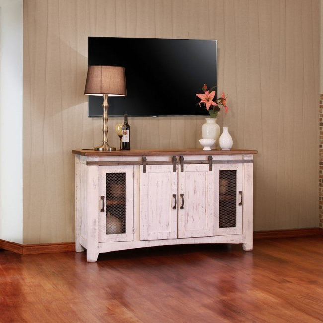 """2019 Pueblo 60 Inch Tv Stand (brown/ White) Ifd Furniture, 1 With Khia Tv Stands For Tvs Up To 60"""" (View 13 of 20)"""