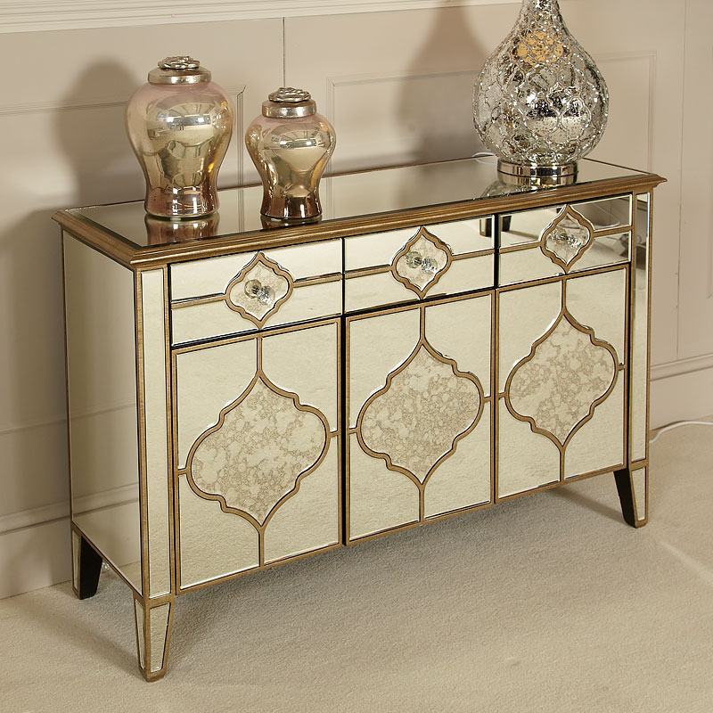 """2019 Sahara Marrakech Moroccan Gold Mirrored 3 Drawer 3 Door For Isra 56"""" Wide 3 Drawer Sideboards (View 12 of 20)"""