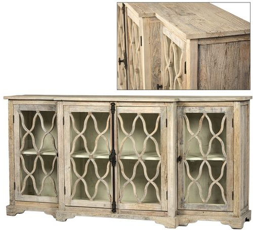 2019 Wood Accent Sideboards Buffet Serving Storage Cabinet With 4 Framed Glass Doors Intended For Florence Glass Door Gray Washed Sideboard (View 19 of 20)