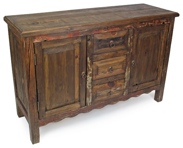 2019 Wood Accent Sideboards Buffet Serving Storage Cabinet With 4 Framed Glass Doors With Regard To Rustic Old Wood Sideboard – 2 Door, 3 Drawer – Rustic (View 14 of 20)