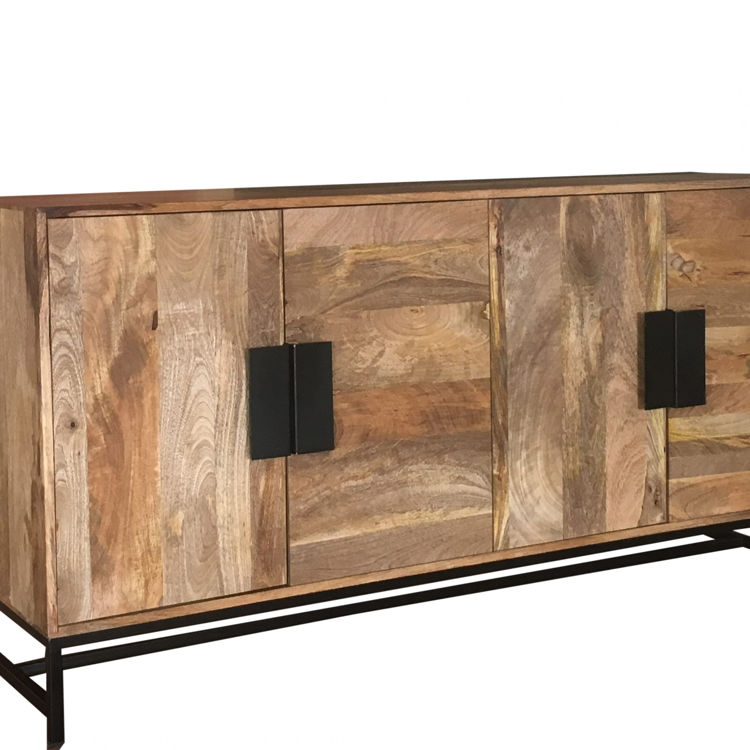 2020 Wood Accent Sideboards Buffet Serving Storage Cabinet With 4 Framed Glass Doors With Regard To Urbanization Range Contemporary 4 Door Wooden Sideboard (View 12 of 20)