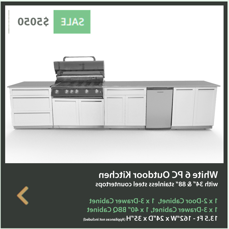 3 Drawer And 2 Door Cabinet With Metal Legs For Well Known White 6 Pc Outdoor Kitchen: 2 Door Cabinet, 3 Drawer (View 6 of 20)