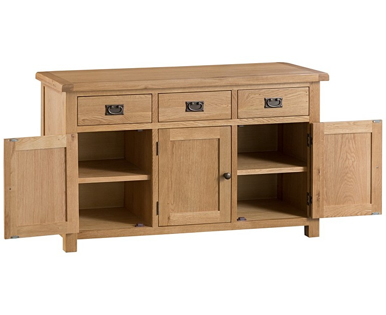 3 Drawer Sideboards Within Fashionable Sydney 3 Door 3 Drawer Oak Sideboard (View 5 of 20)