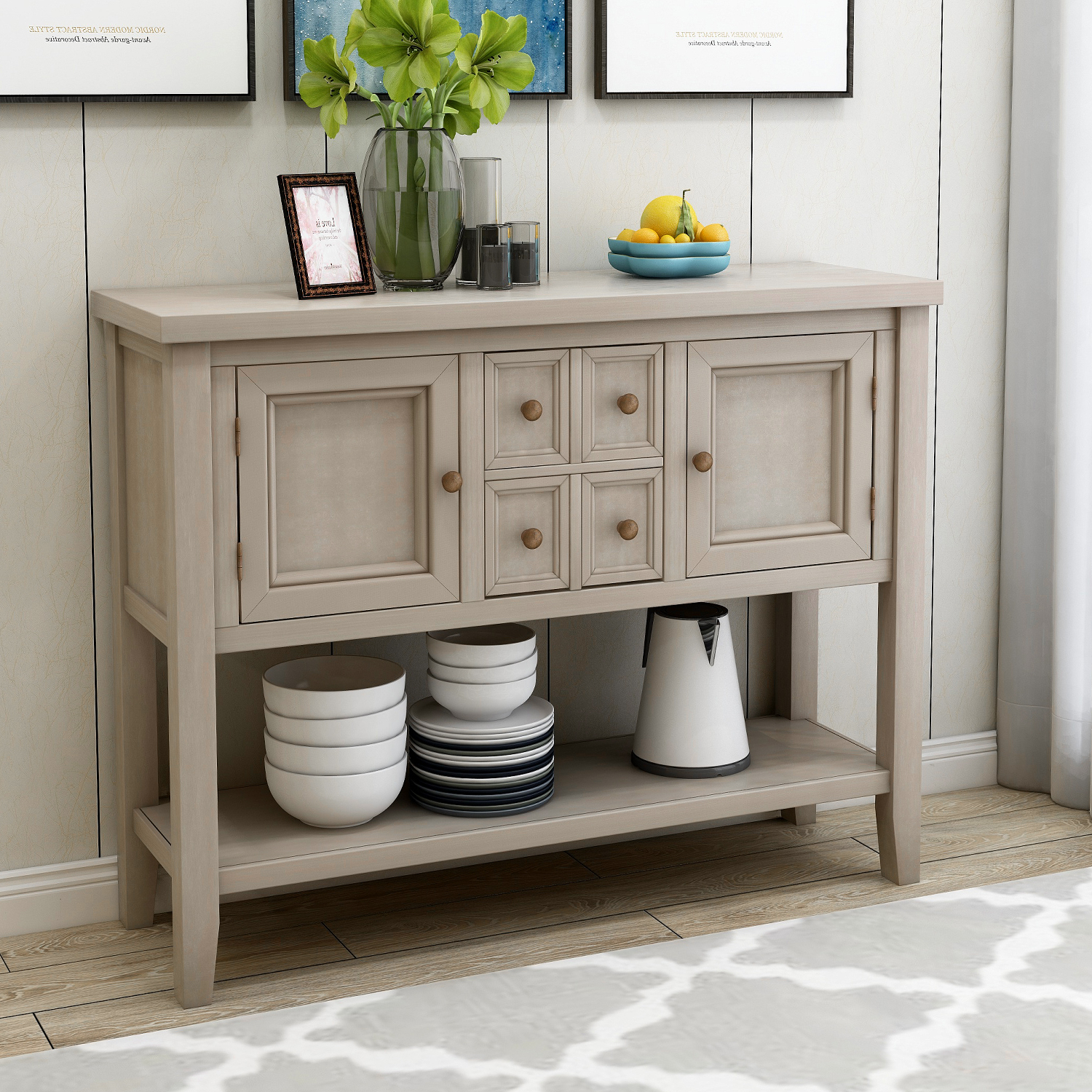 46'' X 15'' X 34'' Wood Console Table With 4 Storage With Regard To Most Current Chouchanik 46 Wide 4 Drawer Sideboards (View 11 of 20)
