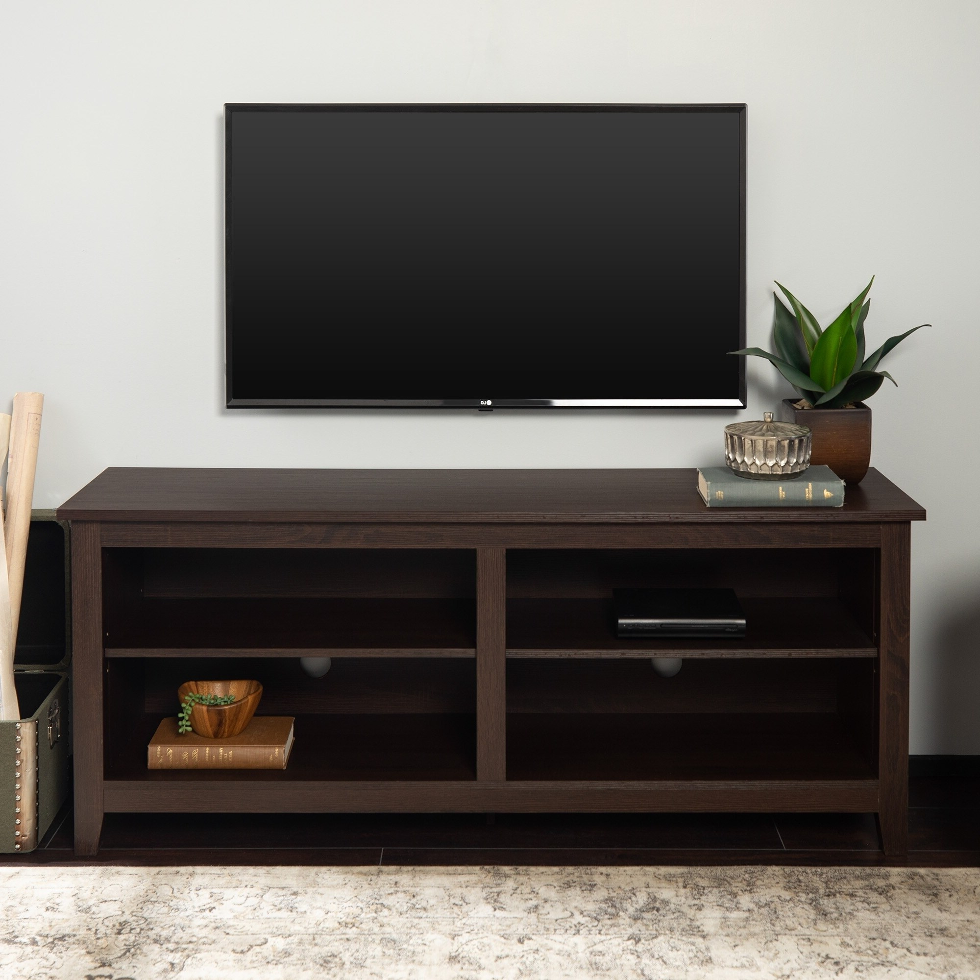"""58 Inch Espresso Brown Tv Stand Console With Adjustable Throughout Newest Greggs Tv Stands For Tvs Up To 58"""" (View 9 of 20)"""