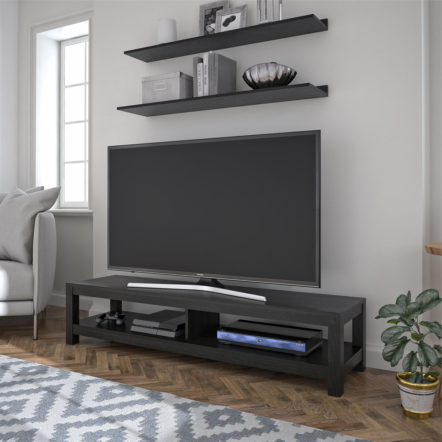 """Adora Tv Stands For Tvs Up To 65"""" Within Widely Used 65 Inch Wood Tv Stand Unit W/ Open Shelf Entertainment (View 8 of 20)"""