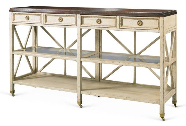 """Aliya Sideboards With Current Edward 60"""" Console, Antiqued White/brown60""""w X 16""""d X 34""""h (View 8 of 20)"""