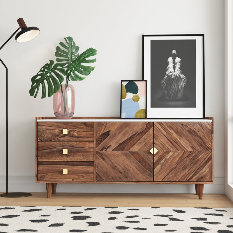 """Allmodern Cora Rose 62.9"""" Wide 3 Drawer Acacia Wood In Current Cora Rose (View 2 of 20)"""