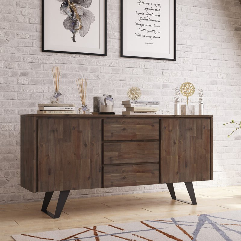 """Allmodern Midway 60"""" Wide 3 Drawer Acacia Wood Buffet Pertaining To Popular Caila 60"""" Wide 3 Drawer Sideboards (View 8 of 20)"""