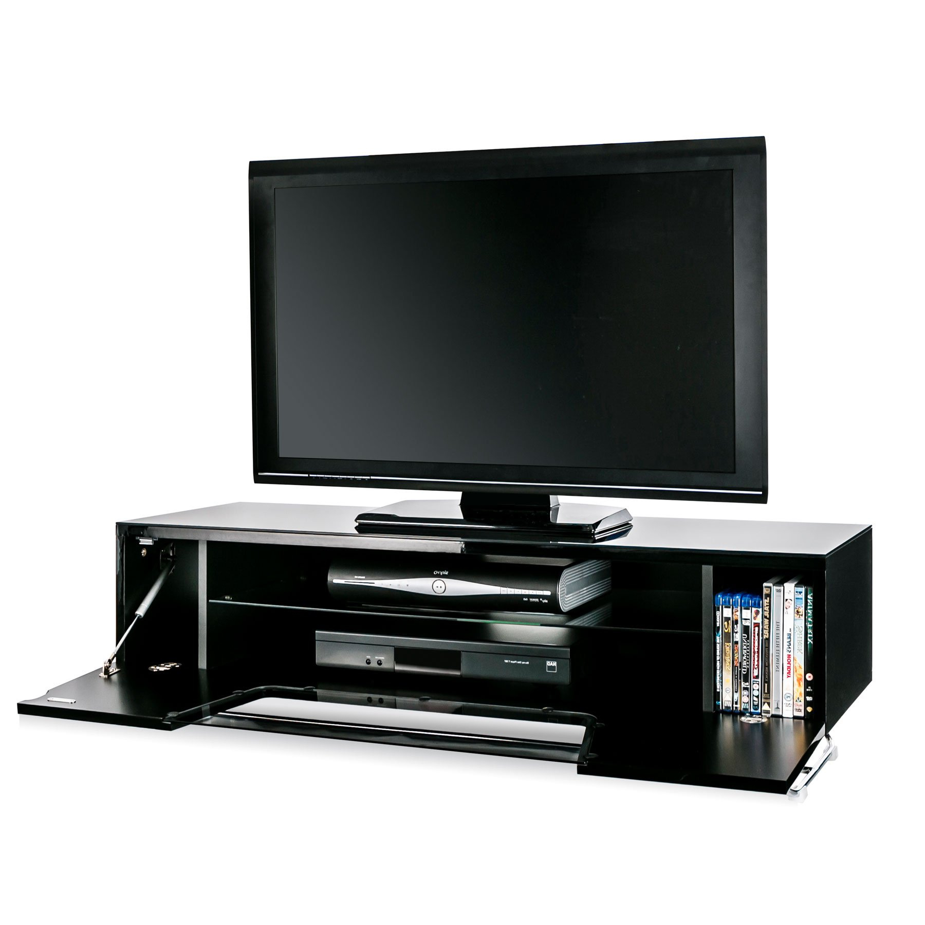 """Alphason Chromium 2 120cm Black Tv Stand For Up To 60"""" Tvs Within Well Known Evanston Tv Stands For Tvs Up To 60"""" (View 17 of 20)"""