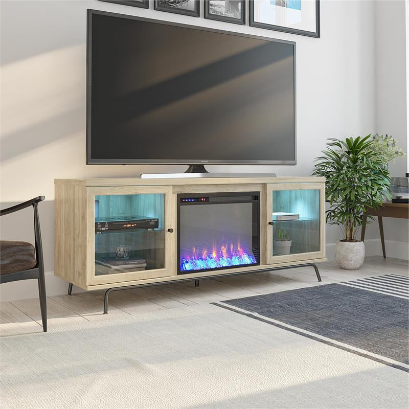 """Ameriwood Home 6873847com Sydney View Fireplace 70"""" Blonde Inside Well Liked Huntington Tv Stands For Tvs Up To 70"""" (View 12 of 20)"""