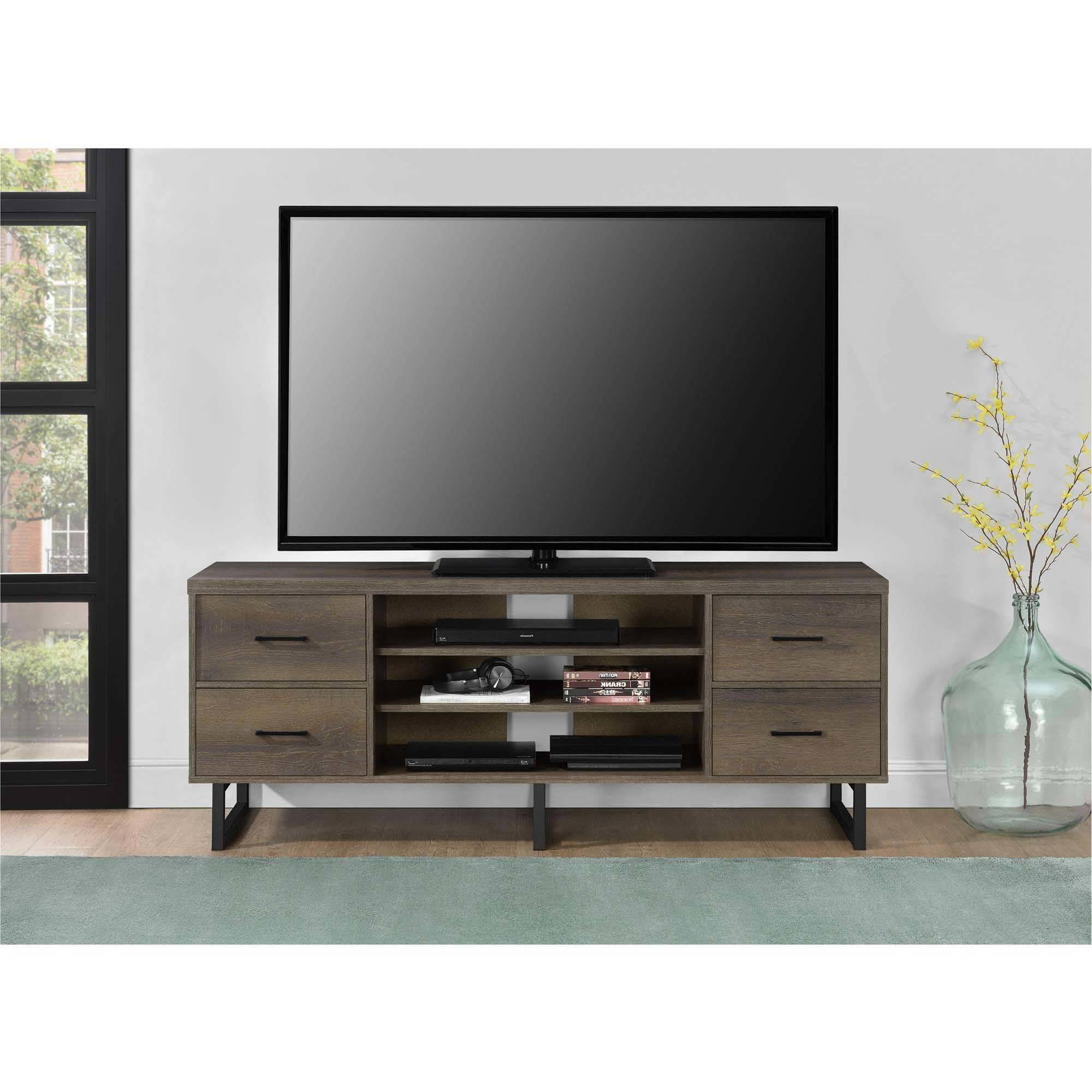 """Ameriwood Home Candon Tv Stand With Bins For Tvs Up To 60 In 2020 Leafwood Tv Stands For Tvs Up To 60"""" (View 3 of 20)"""