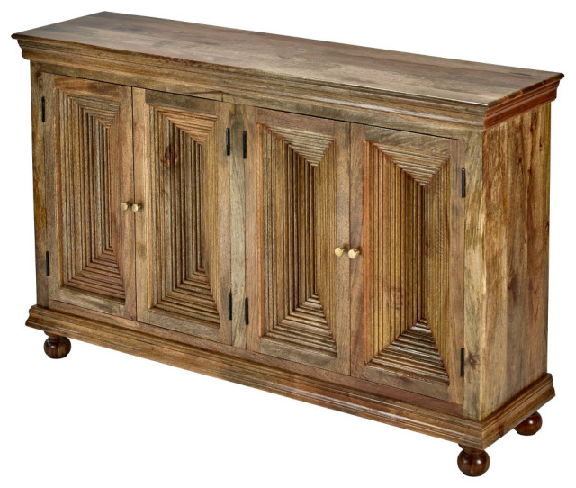 """Aneisa 70"""" Wide 6 Drawer Mango Wood Sideboards Regarding Preferred 65"""" Rustic Reclaimed Mango Wood 4 Door Hand Carved (View 2 of 20)"""
